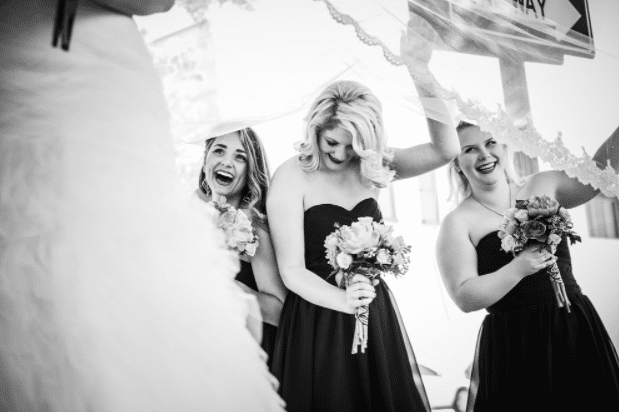 Wedding photographer with bridal party