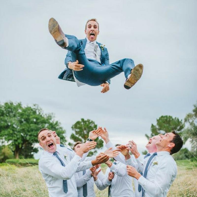 men on wedding day
