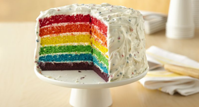 how to make rainbow cake, easy cake recipes, simple cake recipe, layer cake, tie dye cake, best birthday cake, rainbow swirl, best birthday cake, rainbow cakes, rainbow birthday cake, best birthday cakes, rainbow birthday, rainbow layer cake, rainbow frosting, how to make a simple cake, how to make a tiered cake, baking recipes from scratch, easy cakes to make,